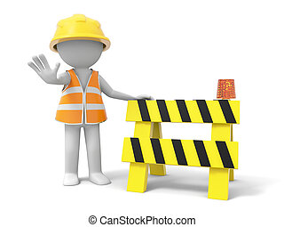 roadblock - A 3d person stopping the people with a roadblock