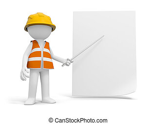 Safety worker - A 3d safety worker pointing at the paper...