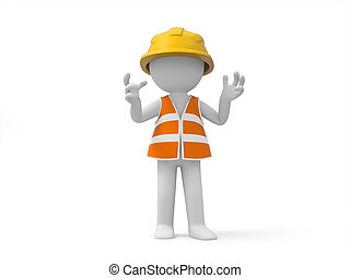 Safety worker - A 3d safety worker standing/ safety/worker