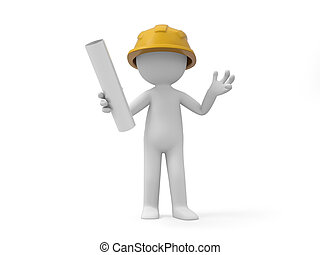 Safety worker - A 3d safety worker holding something in hand