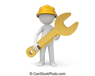 Safety worker - A 3d safety worker holding a spanner in...