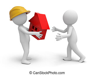 Safety worker - A 3d worker taking a house model to a person