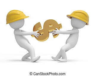 Safety worker - Two 3d safety worker snatching a dollar...
