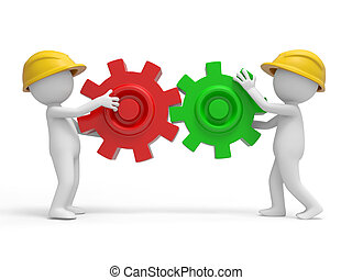 Safety worker - Two 3d safety workers carrying the puzzles