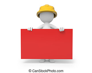 Safety worker - A 3d safety worker holding a red board