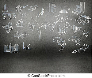 painted on the wall charts, symbols and diagrams - image of...