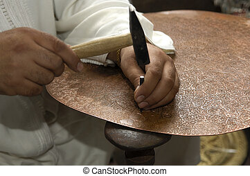Coppersmith at work, Morocco