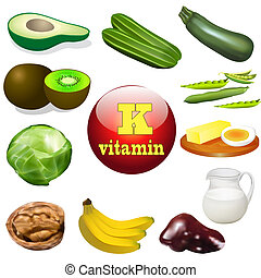 vitamin K plant and animal products - illustration vitamin K...