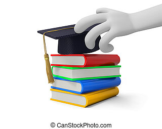 bachelor - A 3d hand  a bachelor%u2019s hat a stack of books