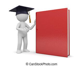 bachelor - A 3d bachelor standing besides a book