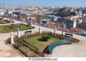 Garden of San Pedro de Alcantara in Lisbon - View over...