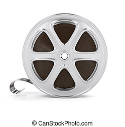 Vintage cinema film tape on disc. 3d rendered illustration....