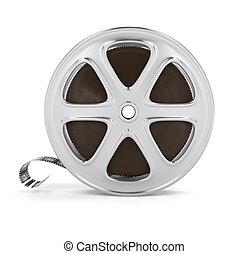 Vintage cinema film tape on disc. 3d rendered illustration....