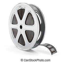 Vintage cinematography reel film on disc. 3d rendered...