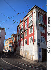 Houses in the Alfama District of Lisbon - Houses along Largo...