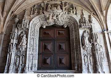 Portal to the Church of Jeronimos Monastery in Lisbon -...