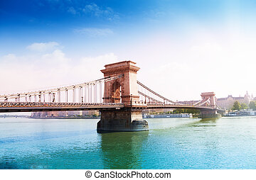 Chain bridge on Danube river in Budapest, Hungary - Chain...