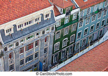 Baixa Houses in Lisbon from Above - Old apartment houses and...