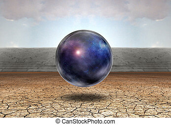 Sphere with captured space hovers over ground