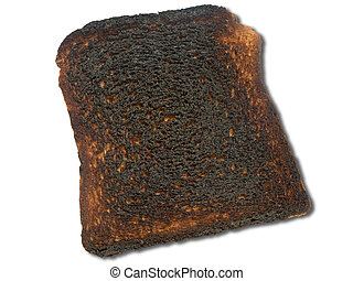 Burnt toast isolated on a white background.