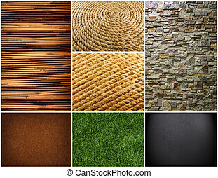Collection of textures backgrounds. Bamboo texture with...