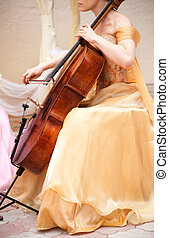 cello musician - classical music or celebration concept,...