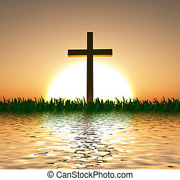 Sunset or sunrise with cross and water