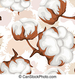 Cotton buds branch. Seamless pattern