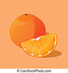 Orange fruit isolated on light background Vector...