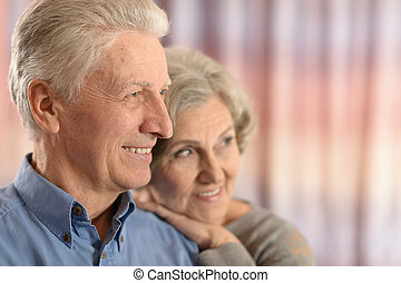 Romantic elderly couple - Portrait of a beautiful romantic...