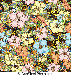 Seamless pattern with cherry blossom flowers. - Seamless...