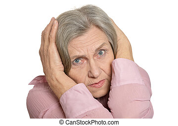 Senior woman sad isolated on a white background
