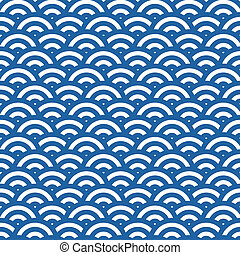 Wave simple seamless blue pattern
