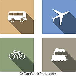 Vehicle and transport vector flat icons with long shadow