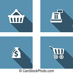 Shopping Flat Icons Set wit long shadow