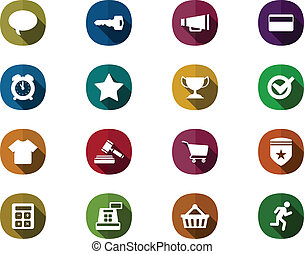 Retro mobile Icon Set for online shopping with long shadow