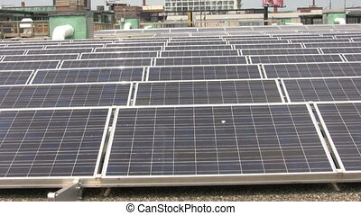 solar panels - footage of rooftop solar panels
