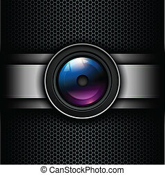 Background with photo lens icon on grill vector background...