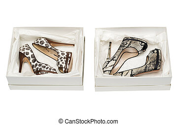 animal print high heel shoes in box isolated on white...