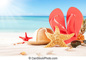 Summer beach with straw hat, seashells and sandals - Summer...