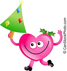 Christmas love - Mr heart holding a Christmas tree isolated...