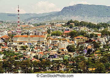 top view in dalat city vietnam