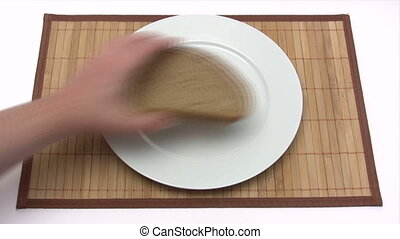 Piece of Bread and Cheese - Time Lapse - Canon HV30. HD 16:9...