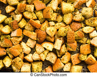 crouton - close up of rustic homemade baked croutons