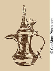 Old Style Hand Drawn Arabic Coffee Pot - Vector Illustration