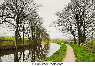 Winter view of Lancaster Canal - Lancaster Canal and towpath...