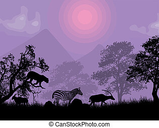Sunset Safari - Wildlife silhouetted against a lila sunset,...