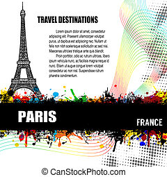 Paris grunge poster - Paris, vintage travel destination...