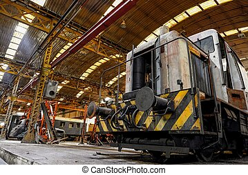 Freight train in garage