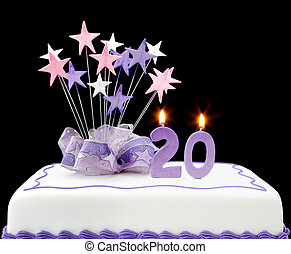 20th Cake - Fancy cake with number 20 candles Decorated with...